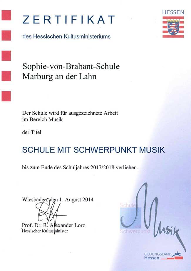 Zertifikat, Schule mit Schwerpunkt Musik, gültig bis 2017/2018