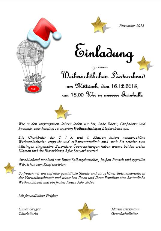 Weihnachtsliederabend-Einladung